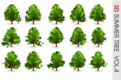 objeto ajustado da coleção da árvore do verão 3D Fotos de Stock