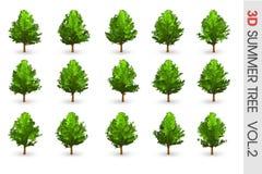objeto ajustado da coleção da árvore do verão 3D Foto de Stock