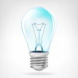 Objeto azul realista del bulbo aislado en blanco Fotos de archivo