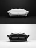 Objeto blanco y negro del monocromo del sofá Imagen de archivo libre de regalías