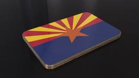 Objeto brillante de la bandera de Arizona 3D aislado en fondo negro stock de ilustración