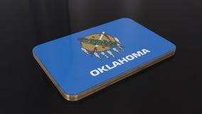 Objeto brillante de la bandera de Oklahoma 3D aislado en fondo negro stock de ilustración