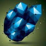 Objeto 3D abstrato azul assimétrico com linhas e os pontos conectados Imagem de Stock Royalty Free