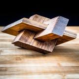 objeto 3d de madeira feito de polígono encaixados ilustração do vetor