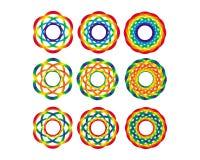Objeto da arte do arco-íris 9 figuras geométricas iridescentes Fundo, textura, fractal Imagem de Stock Royalty Free
