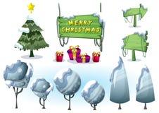 Objeto da paisagem do Natal do vetor dos desenhos animados com camadas separadas para o jogo e a animação Fotografia de Stock