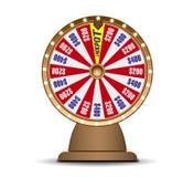 Objeto da roda 3d da fortuna isolado no fundo branco Roda dourada da loteria da sorte Potenciômetro de Jack ilustração stock