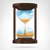 Objeto de madera corriente del reloj de arena aislado Imagenes de archivo