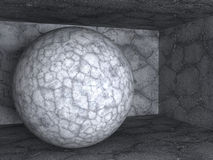 Objeto de pedra concreto abstrato da esfera Foto de Stock