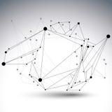 Objeto de red poligonal del vector de la estructura abstracta 3D Foto de archivo libre de regalías