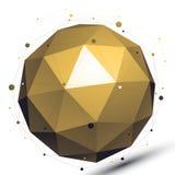 Objeto de red tecnológico abstracto del vector 3D del oro, spheri del arte Imágenes de archivo libres de regalías