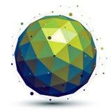 Objeto de rede brilhante do vetor do sumário 3D, spherica simétrico da arte ilustração stock