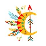 Objeto decorativo con la flecha, las plumas y Crescent Shape, impresión étnica inspirada cultura india nativa del estilo de Boho Foto de archivo