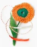 Objeto decorativo hecho a mano de la flor del ganchillo Foto de archivo libre de regalías