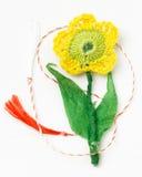 Objeto decorativo hecho a mano de la flor del ganchillo Imagen de archivo