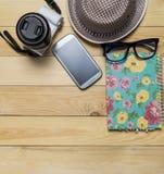 Objeto del blogger del viaje de las vacaciones de las vacaciones de verano Imagen de archivo libre de regalías