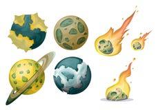 Objeto del meteorito del vector de la historieta con las capas separadas para el arte y la animación del juego Fotos de archivo libres de regalías