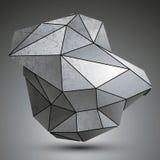 Objeto dimensional deformado do grayscale da tecnologia, cyberneti do complexo 3d ilustração do vetor