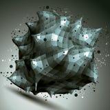 objeto do projeto do sumário do vetor 3D, forma complicada poligonal Imagens de Stock