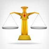 Objeto dourado do vetor da comparação da escala no branco Fotografia de Stock