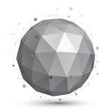 Objeto eps8, técnico digital monocromático do vetor esférico dimensional Fotos de Stock Royalty Free