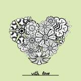 Objeto floral del corazón del zentangle en vector Drenaje de la mano Fotos de archivo libres de regalías