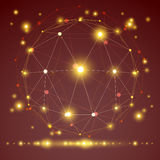 Objeto geométrico abstrato da malha 3D, ilustração do vetor Foto de Stock Royalty Free