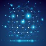 Objeto geométrico abstrato da malha 3D, tecnologia Fotografia de Stock Royalty Free