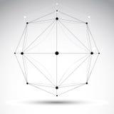 Objeto geométrico abstrato do wireframe 3D, ilustração do vetor, cle Imagem de Stock
