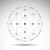 Objeto geométrico abstrato do wireframe 3D, technolog digital moderno Fotografia de Stock Royalty Free