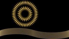 Objeto giratorio redondo con el aumento de los elementos desiguales y de la estrella de oro, película del gráfico de la fantasía ilustración del vector