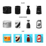 Objeto isolado do ícone da lata e do alimento Grupo da ilustração conservada em estoque do vetor da lata e do pacote ilustração royalty free