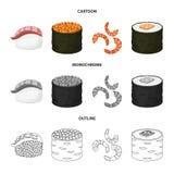 Objeto isolado do ícone do sushi e do arroz Coleção do símbolo de ações do sushi e do atum para a Web ilustração do vetor