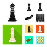 Objeto isolado do checkmate e do ícone fino Ajuste do ícone do vetor do checkmate e do alvo para o estoque ilustração royalty free