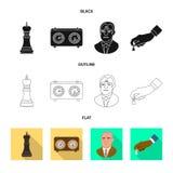 Objeto isolado do checkmate e do ícone fino Ajuste do ícone do vetor do checkmate e do alvo para o estoque ilustração do vetor