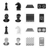 Objeto isolado do checkmate e do ?cone fino Cole??o da ilustra??o do vetor do estoque do checkmate e do alvo ilustração stock