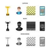 Objeto isolado do checkmate e do ?cone fino Cole??o do s?mbolo de a??es do checkmate e do alvo para a Web ilustração do vetor