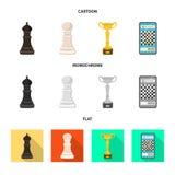 Objeto isolado do checkmate e do ?cone fino Cole??o do ?cone do vetor do checkmate e do alvo para o estoque ilustração do vetor