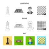 Objeto isolado do checkmate e do logotipo fino Ajuste da ilustra??o do vetor do estoque do checkmate e do alvo ilustração stock