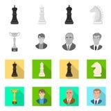 Objeto isolado do checkmate e do logotipo fino Ajuste do s?mbolo de a??es do checkmate e do alvo para a Web ilustração do vetor
