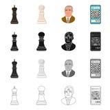 Objeto isolado do checkmate e do logotipo fino Coleção do símbolo de ações do checkmate e do alvo para a Web ilustração royalty free