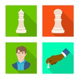 Objeto isolado do checkmate e do símbolo fino Ajuste do ícone do vetor do checkmate e do alvo para o estoque ilustração royalty free