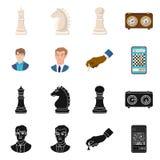 Objeto isolado do checkmate e do símbolo fino Ajuste do símbolo de ações do checkmate e do alvo para a Web ilustração do vetor