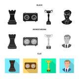 Objeto isolado do checkmate e do símbolo fino Coleção do ícone do vetor do checkmate e do alvo para o estoque ilustração do vetor