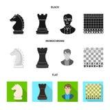 Objeto isolado do checkmate e do símbolo fino Coleção da ilustração do vetor do estoque do checkmate e do alvo ilustração do vetor