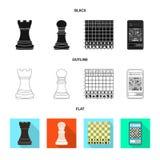Objeto isolado do checkmate e do s?mbolo fino Cole??o do ?cone do vetor do checkmate e do alvo para o estoque ilustração do vetor