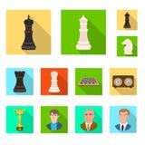 Objeto isolado do checkmate e do s?mbolo fino Cole??o da ilustra??o do vetor do estoque do checkmate e do alvo ilustração stock