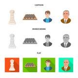 Objeto isolado do checkmate e do sinal fino Ajuste do ícone do vetor do checkmate e do alvo para o estoque ilustração stock