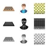 Objeto isolado do checkmate e do sinal fino Ajuste do ?cone do vetor do checkmate e do alvo para o estoque ilustração stock