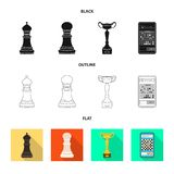 Objeto isolado do checkmate e do sinal fino Ajuste do ?cone do vetor do checkmate e do alvo para o estoque ilustração do vetor